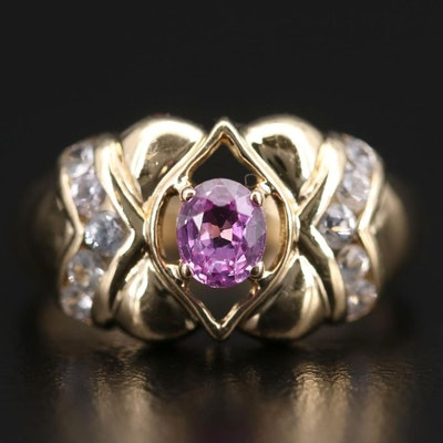 14K Yellow Gold Pink and White Sapphire Ring