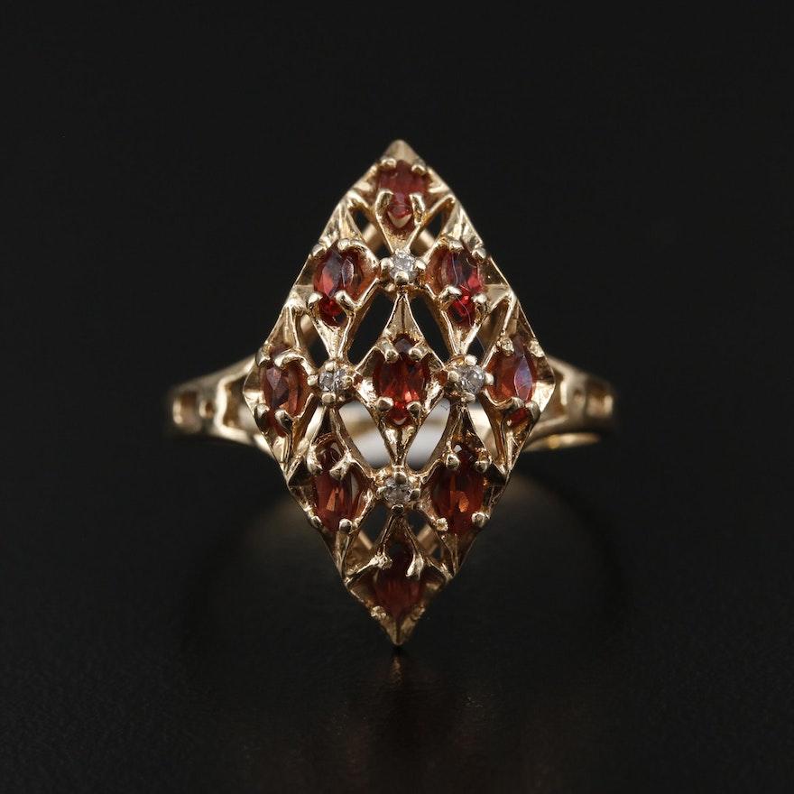 10K Yellow Gold Garnet and Diamond Openwork Ring
