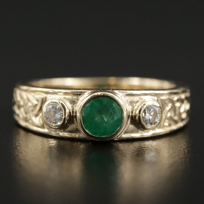 14K Yellow Gold Emerald and Diamond Celtic Knot Motif Ring