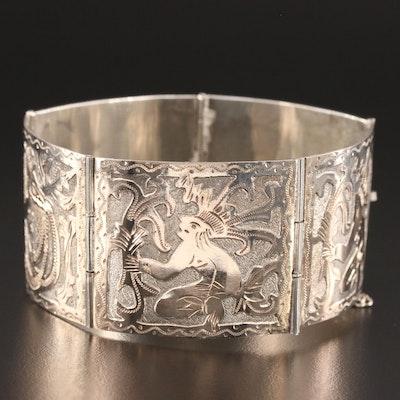Meso-American 800 Silver Panel Bracelet