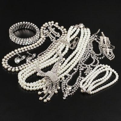 Vintage Rhinestone and Imitation Pearl Jewelry Including Franklin Mint