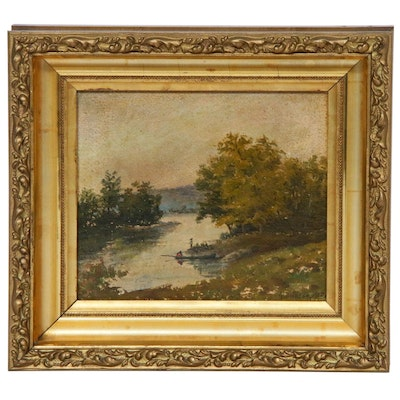 River Landscape Oil Painting, 1900