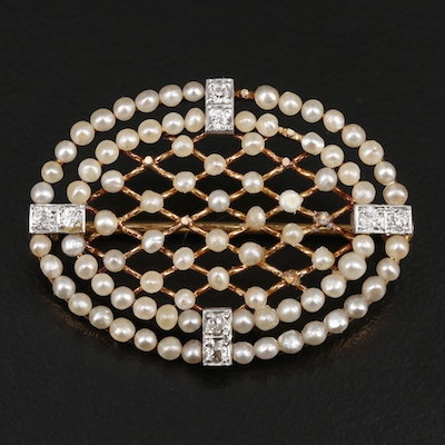 Circa 1910 Platinum and 14K Yellow Gold Diamond and Seed Pearl Brooch