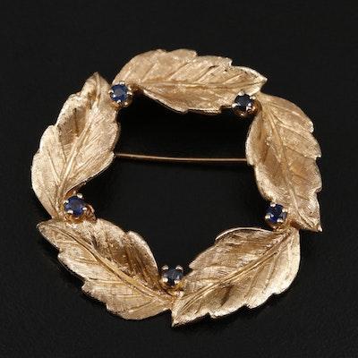 Vintage Soret 14K Yellow Gold Sapphire Leaf Motif Brooch