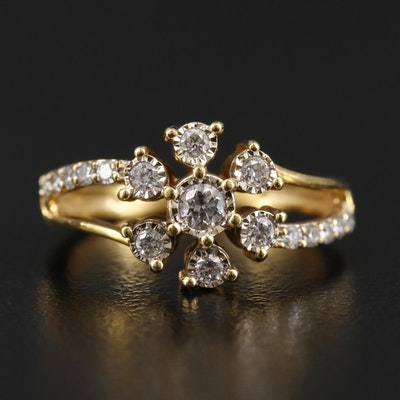 18K Yellow Gold Diamond and Cubic Zirconia Flower Ring