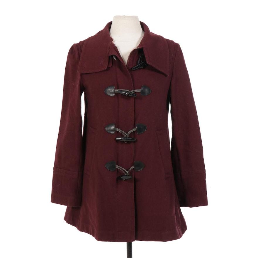 Burberry London Wool Blend Toggle Swing Coat
