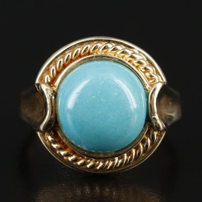 14K Yellow Gold Turquoise Cabochon Ring