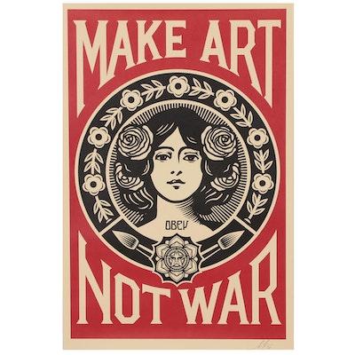 """Shepard Fairey Offset Poster """"Make Art Not War"""", 2020"""