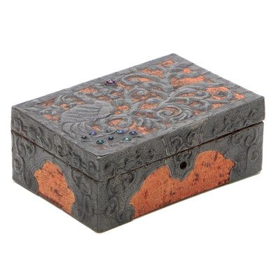 Indo-Persian Style Tooled Metal Over Silk Lock Box with Glass Accents