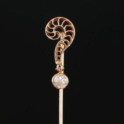 "Edwardian 14K Yellow Gold Diamond ""Eternal"" Question Mark Stick Pin"