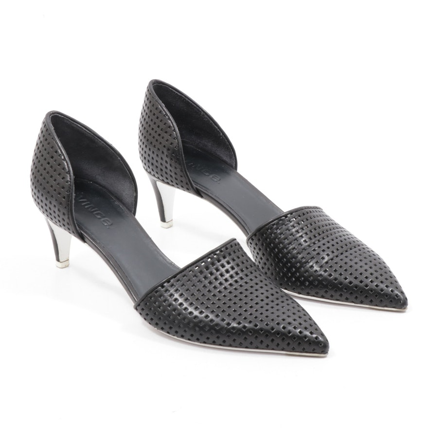 Vince Perforated Black Leather D-Orsay Pumps with White Outsoles
