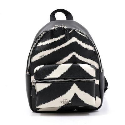 Coach Black Leather Zebra Print Mini Charlie Backpack