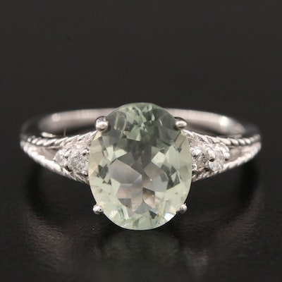 14K White Gold Prasiolite and Diamond Ring