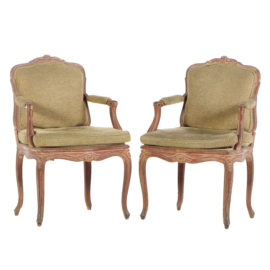 Louis XV Style Beech Arm Chairs, Early to Mid 20th Century