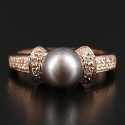 14K Rose Gold Pearl Ring with Diamond Accented Shoulders