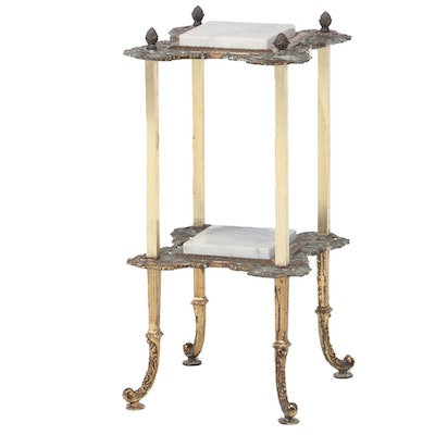 Victorian Style Brass and Marble Tiered Stand, 20th Century