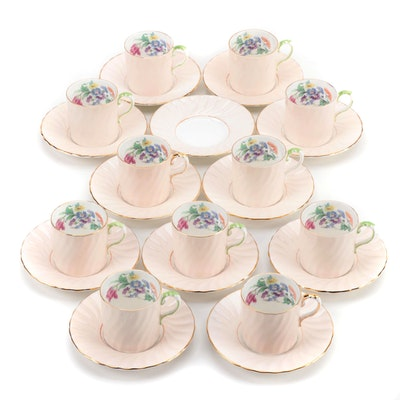 Aynsley Bone China Teacups and Saucers with Floral Motif, Mid-Century