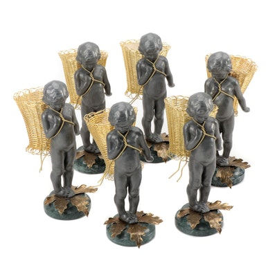 Petite Choses Cast Metal Putti with Basket Figures, 1980s