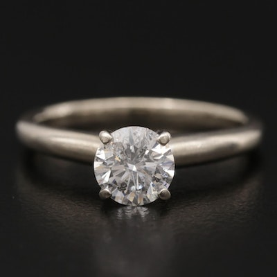 14K White Gold 0.83 CT Diamond Solitaire Ring