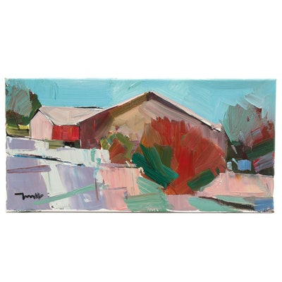 "Jose Trujillo Landscape Oil Painting ""Big Red Barn House,"" 2019"