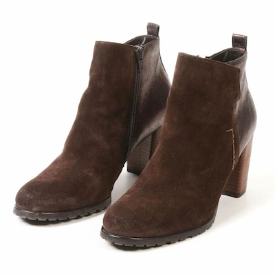 Paul Green Brown Suede and Metallic Leather Ankle Boots