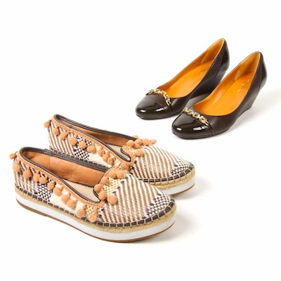 Cole Haan Patent Leather Cap Toe Wedges and Sondra Roberts Espadrille Platforms