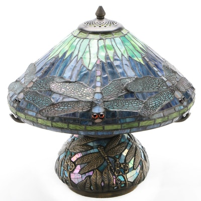 Art Nouveau Stained Glass Dragonfly Table Lamp