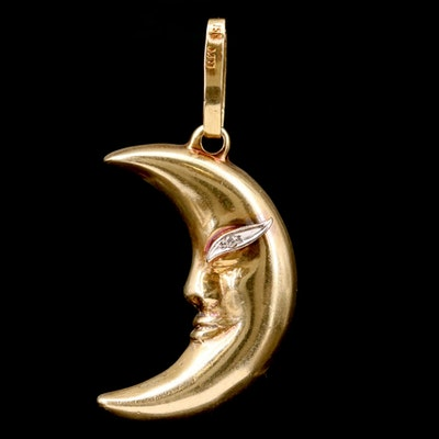 "18K Yellow Gold ""Man in the Moon"" Pendant With Diamond Eye"