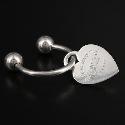 "Tiffany & Co Vintage Sterling ""Return to Tiffany"" Heart Tag Key Ring with Pouch"
