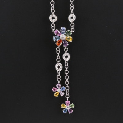 18K White Gold Sapphire and 0.72 CTW Diamond Necklace Featuring Floral Motif