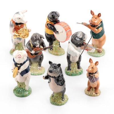 "Beswick ""Pig Promenade Band"" Ceramic Figurines"