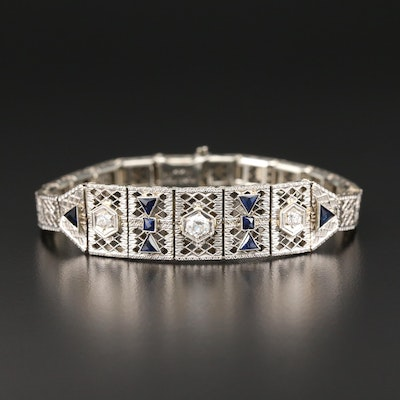 Art Deco 14K Gold and Platinum Diamond and Synthetic Sapphire Bracelet