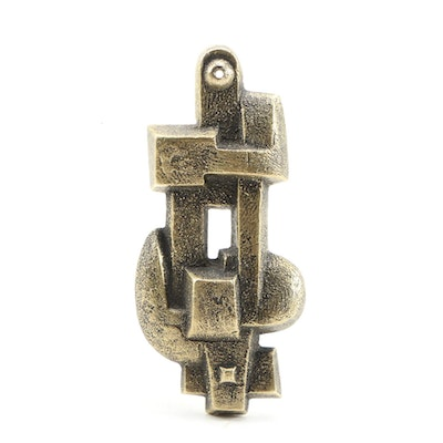 Edoardo Villa Abstract Bronze Sculptural Pendant