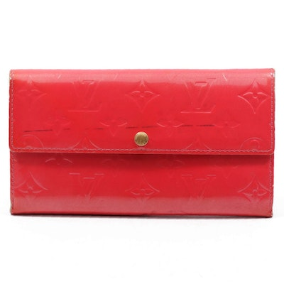 Louis Vuitton Red Monogram Vernis Leather Continental Flap Wallet