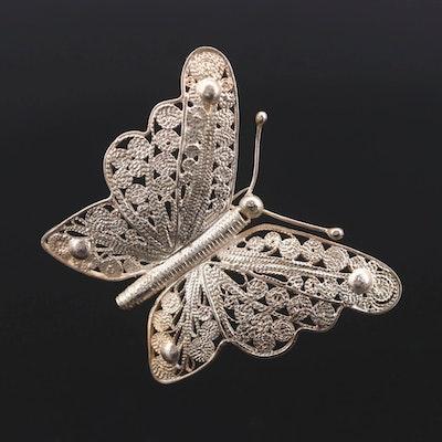 Vintage Sterling Silver Filigree Butterfly Converter Brooch