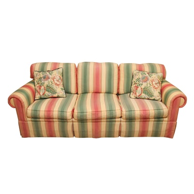 Wesley Hall Striped Roll Arm Sofa