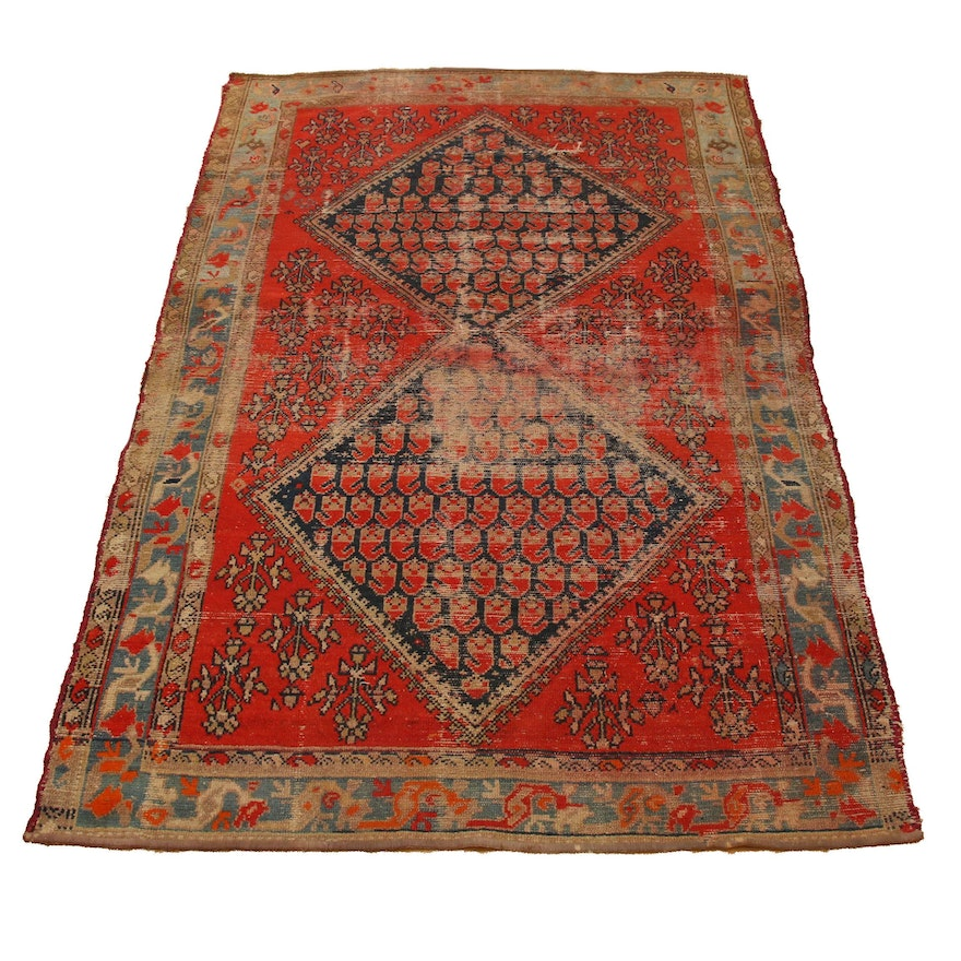 """4'1"""" x 6'6"""" Hand-Knotted Indo-Turkish Wool Rug"""