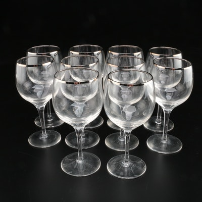 "Lenox ""Weatherly"" Platinum Trim Glass Water Goblets, Late 20th Century"