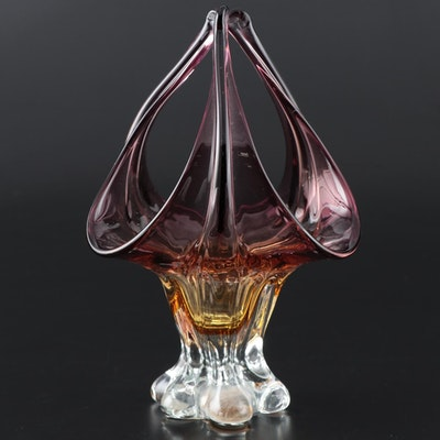 Figural Purple and Amber Glass Vase