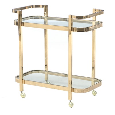 Gold Tone Metal Glass Top Cart, Mid to Late 20th Century