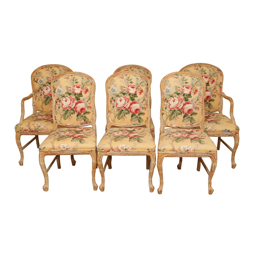 Carved Wood Dining Chairs with Waverly Style Upholstery