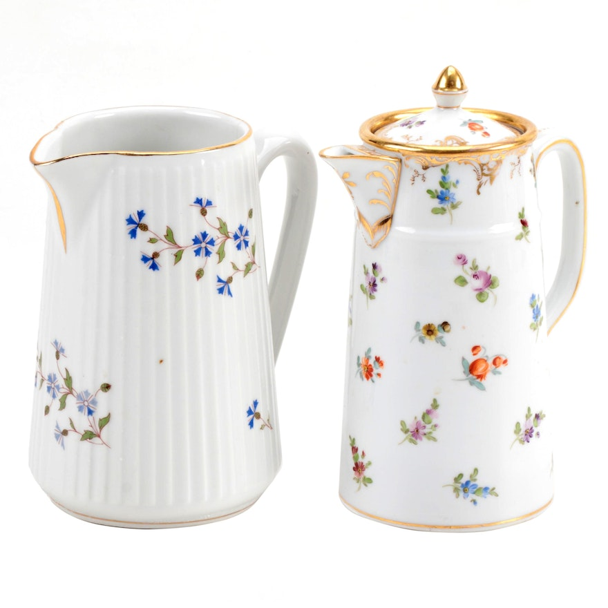 Richard Klemm Dresden Porcelain Chocolate Pot With French Porcelain Pitcher