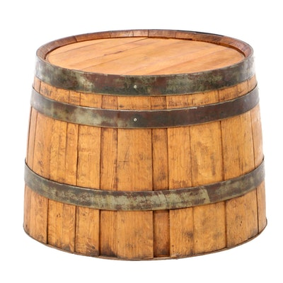 Oak Whiskey Barrel End Table, 20th Century
