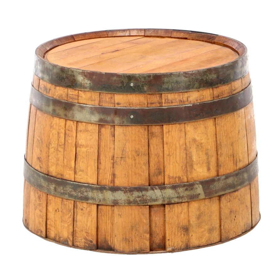 Oak Whiskey Barrel End Table, 20th Century