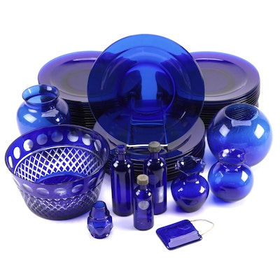 Cobalt Blue Glass Dinner Plates, Vases, Bottles, and Other Décor