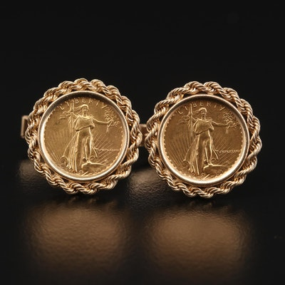 14K Gold Cufflinks with 1986 and 1987 Gold Eagle Bullion Coins