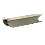 Painted Wooden Snow Sled with L.C. Company Bell, 20th Century