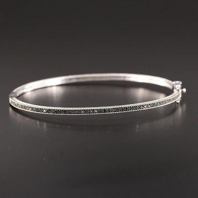 Sterling Silver Diamond Hinged Bracelet