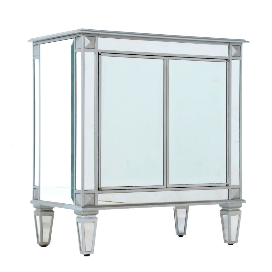 Contemporary  Mirrored Bedside Table