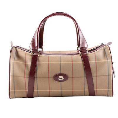 Burberrys Small Travel Duffel in Tan Plaid Jacquard Canvas and Leather